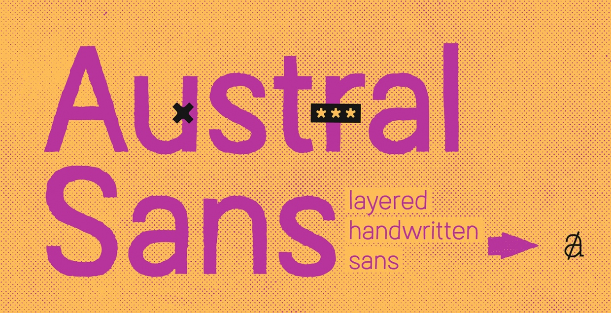 Austral Sans handwritten layered font myfonts design mindsparkle mag 01