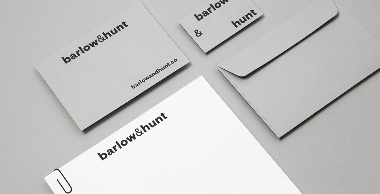 Barlow & Hunt branding grey white typography beautiful minimal by mildred & duck sydney australia on Mindsparkle Mag