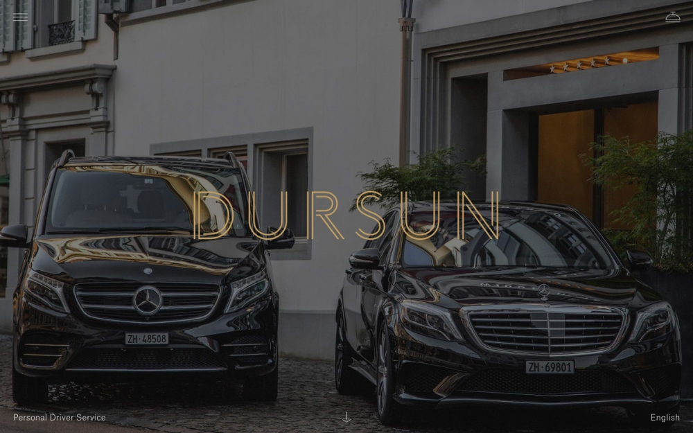 Dursun private limousine new beautiful dark black website made by swiss agency Noord & awarded as site of the day sotd.