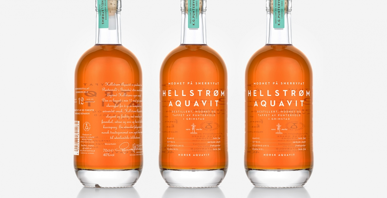 Hellstroem Aquavit Packaging Productdesign Branding Identity Creative Product Bottle nice clean beautiful by Olsson Barbieri Mindsparkle Mag