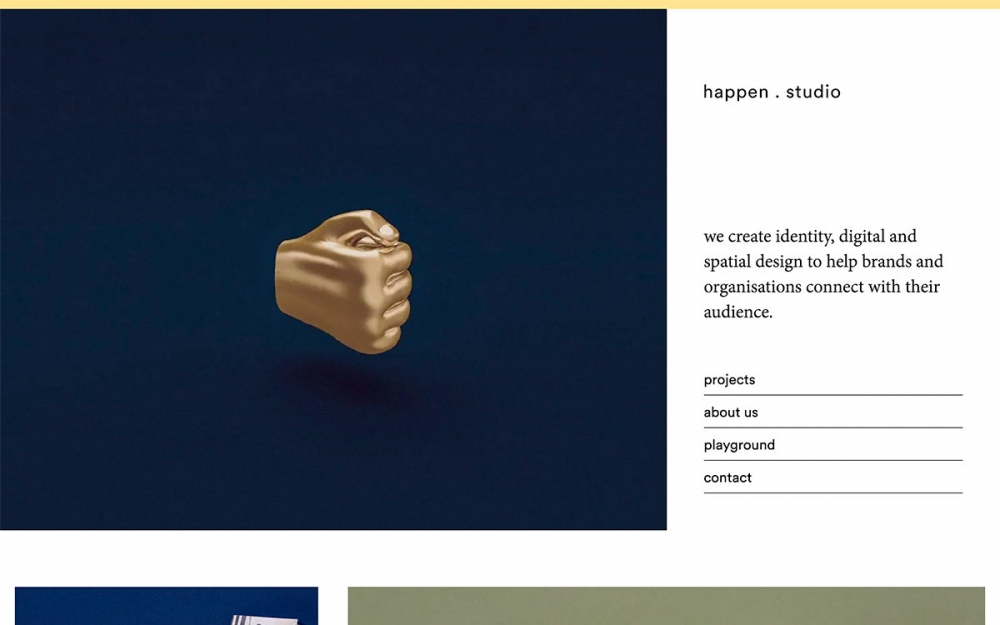 happen.studio - conceptual design studio website web webdesign online sotd award Mindsparkle Mag