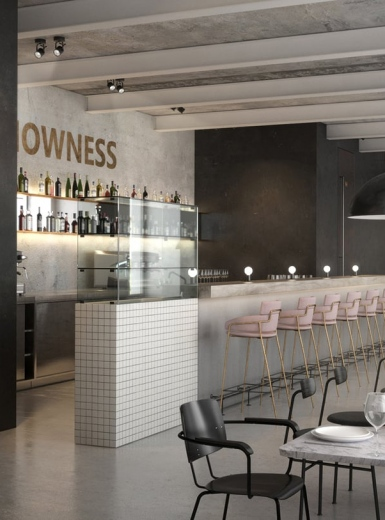 Cafe Nowness interior & architecture design designer furniture industrial design concrete minimal by KDVA Moscow Russia Mindsparkle Mag