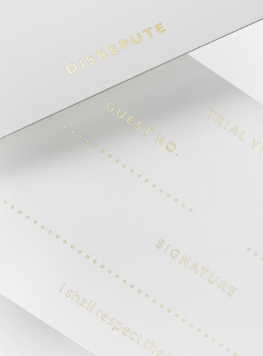 Disrepute Branding Members Bar Soho Business Cards Gold Foil corporate design collateral identity by Two Times Elliott Mindsparkle Mag