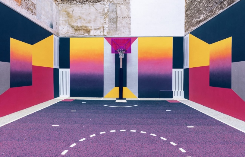 Paris Basketball Playground architecture art direction photography photo series color purple Nike by Ludwig Favre Mindsparkle Mag