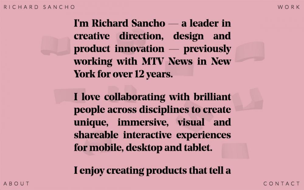 Richard Sancho art direction graphic design portfolio web webdesign website sotd site of the day online award Mindsparkle Mag
