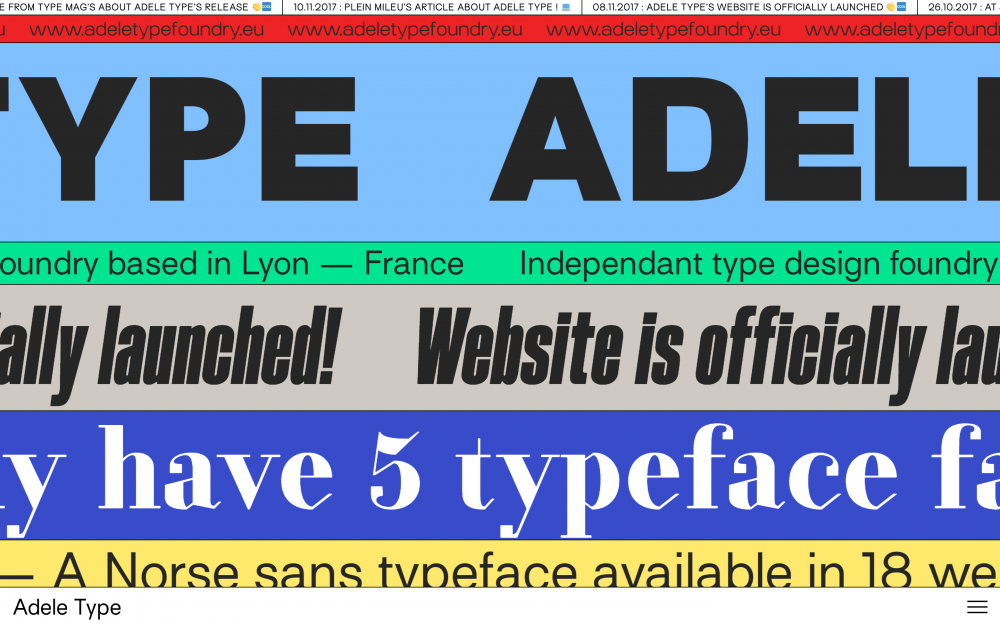 Adele Type Foundry site of the day award mindsparkle mag