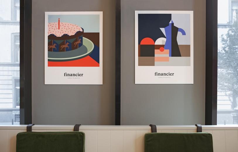 Financier cafe graphic identity logo design graphic blog project mindsparkle mag beautiful portfolio