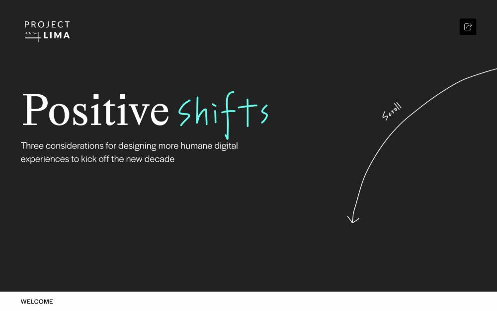 Project Lima: Positive Shifts design digital website modern inspiration beautiful project mindsparklemag sotd