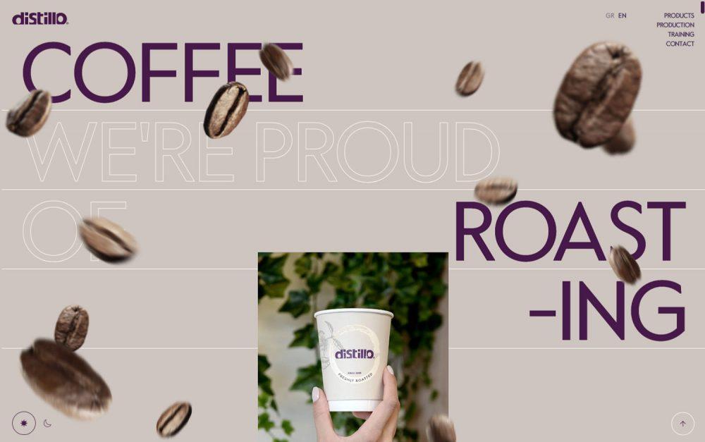 Distillo morning coffee website brew design animation warm brown beans fun transitions mindsparklemag