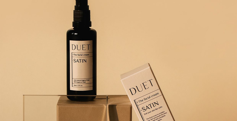 Duet skincare packaging branding vegan sustainable design warm soft ethereal harmony music mindsparklemag