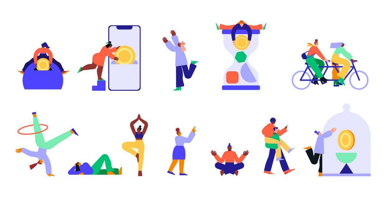Affirm, illustration, system, series, colorful, icons, design, whimsical, shapes, characters, Italy, bold, imaginative, Mindsparkle Mag