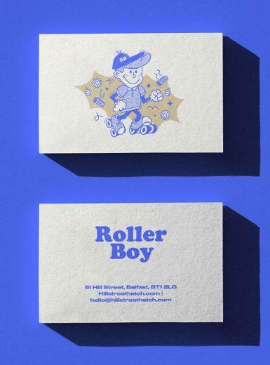 Roller boy, branding, identity, design, graphic, business cards, illustration, vintage, Belfast, Ireland, food concept, dining, crown creative, agency, Mindsparkle Mag