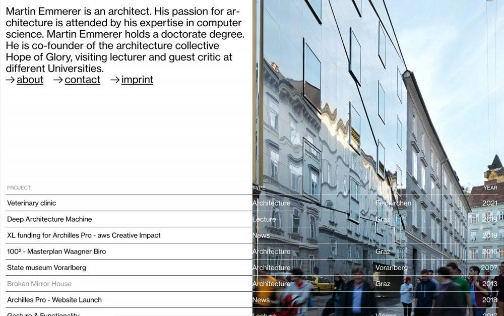 Martin Emmerer, architecture, design, website, sotd, site of the day, minimal, aesthetic, digital, portfolio, Austria, Mindsparkle Mag