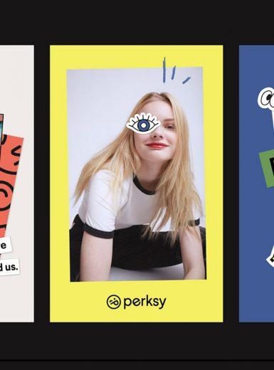 Perksy, app, branding, dynamic, modern, design, stack, stickers, collage, graffiti, cool, startup, fun, trendy, disruptive, Mindsparkle Mag