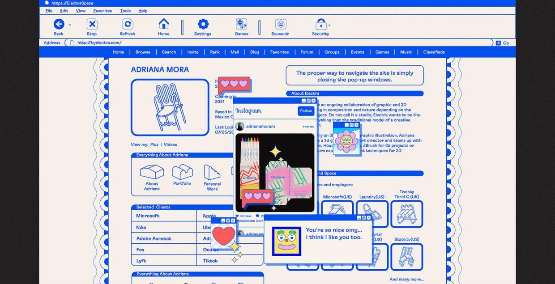 By electra, website, ux, design, graphic, electra space, portfolio, vintage, interface, 2000, desktop, mindsparklemag