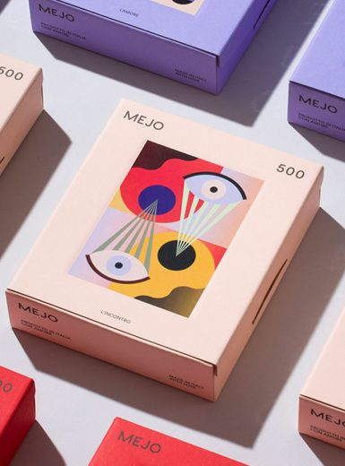 Mejo, puzzle, illustration, colors, packaging, gradient, geometric, handcrafted, graphic design, art direction, Mindsparkle Mag
